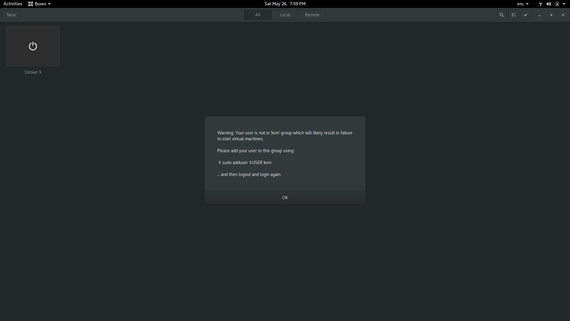 ⚓ T292 GNOME Boxes won't run any virtual machines