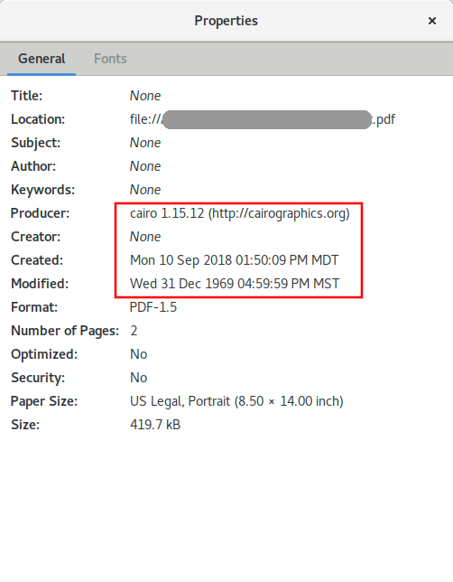 ⚓ T583 Evince shows bogus date for PDF files omitting that